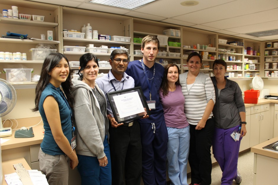 pharmacy team, women and men in a line in front of shelves of medication