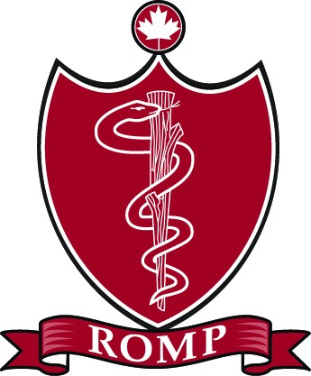 ROMP logo red crest with snake in the middle