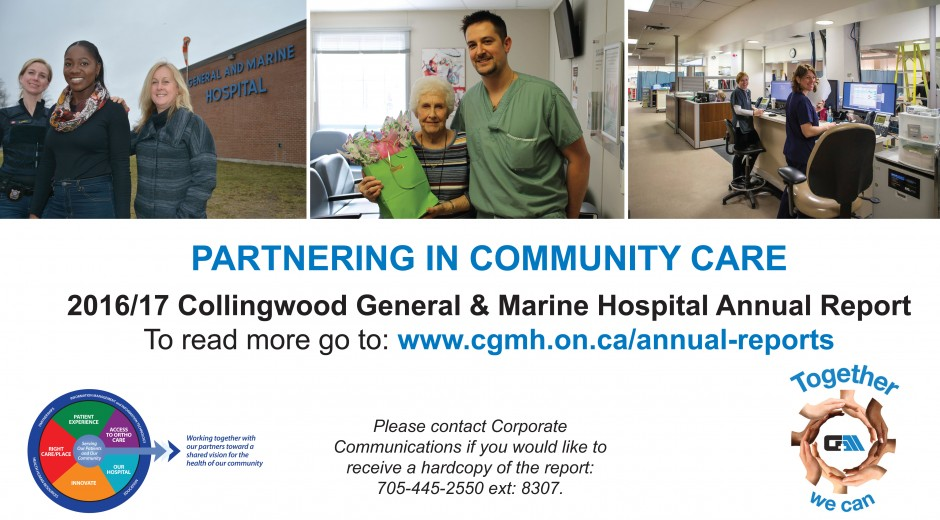 post card showing three images of hospital staff and community partners
